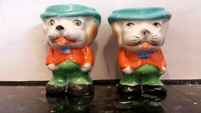 Vintage egg cups made in Japan pair of dogs Kitsch Cute collectable