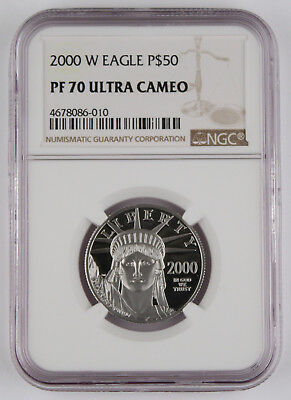 2000 W $50 1/2 Oz 9995 PLATINUM American EAGLE Proof Coin NGC PF70 UC