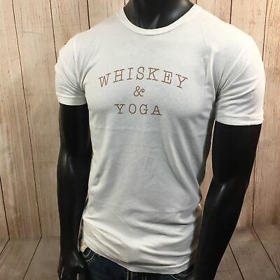 3714df5d24 Whiskey & Yoga Funny Humor College Party Drinking Zen Mens Off White T-Shirt  M
