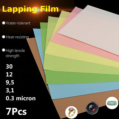 7PCS Lapping Film Aluminum Oxide Sheets Superfinishing Polishing Abrasive Papers