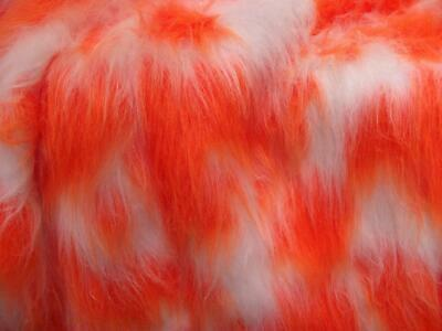 LONG Pile Fun Faux Fur Fabric Material WHITE & BRIGHT ORANGE MIX