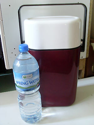 1980s INSULATED DECOR BYO 2 BOTTLE /CAN CHILLER * MAROON & WHITE*  BBQ