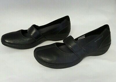 MERRELL Womens Brio Ortholite Black Leather Mary Jane Shoes.  Size 36/AUS 5.5