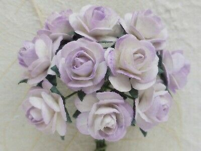 100! Cute Handmade Mulberry Paper Roses - 10mm - Lilac Blush Rose Embellishments
