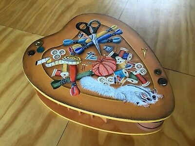 Handmade And Handpainted Wooden Sewing Box As New