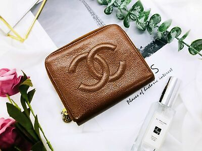 66aaaaf5b88c4e Chanel Wallet Caviar Leather Brown Zipper Bifold Purse Authentic Vintage  CW026