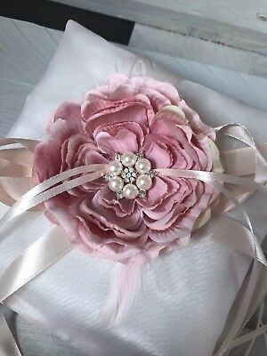 Wedding Engagement Ring Cushion Bearer Pillow Dusty Rose Feather Flower GLAM