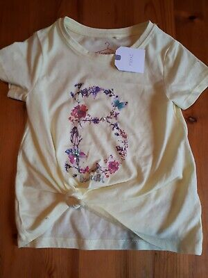 Girls Yellow Next T-Shirt With Front Knot Age 4