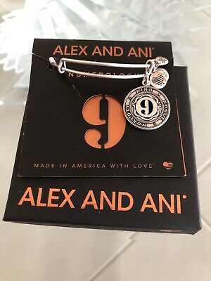 Authentic Alex and Ani Numerology # 9 Rafaelian Silver Expandable Charm Bangle