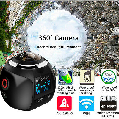 4K Wifi 360° Ultra HD 1080P Panoramic Sport Camera Action Driving Helmet VR Cam
