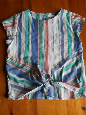 Girls Next Strippy T-shirt With Knot Detail Age 7