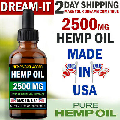 Organic Hemp Oil Drops 2500 mg - MADE IN USA - for Stress Pain Relief Sleep Aid