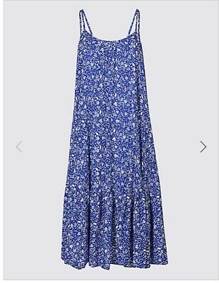 M & S Collection Blue Or Red Mix Woven Flippy Beach Dress