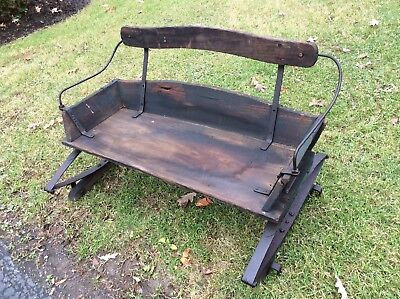 Antique / Primitive Wood Horse Buggy / Sleigh Seat W / Springs - Very Good