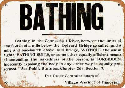 Metal Sign - No Naked Bathing in the CT River in Hanover - Vintage Look
