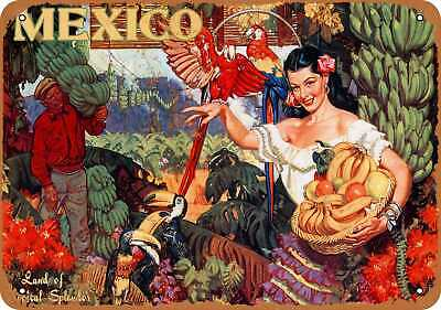 Metal Sign - Mexico Land of Tropical Splendor - Vintage Look Reproduction