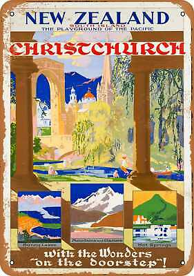 Metal Sign - Christchurch New Zealand - Vintage Look Reproduction