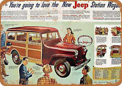 Metal Sign - 1946 Jeep Woody - Vintage Look Reproduction