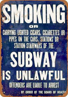 Metal Sign - No Smoking in the New York Subway - Vintage Look Reproduction