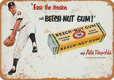 Metal Sign - 1952 Allie Reynolds for Beech-Nut Gum - Vintage Look Reproduction