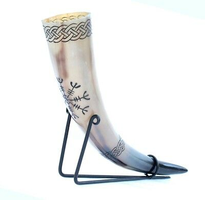 Helm of awe Viking fighter's Norse Drinking Horn with metal stand for ale beer