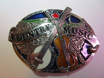 COUNTRY MUSIC Belt Buckle Nashville Banjo and Violin NEW Free Shipping Vintage