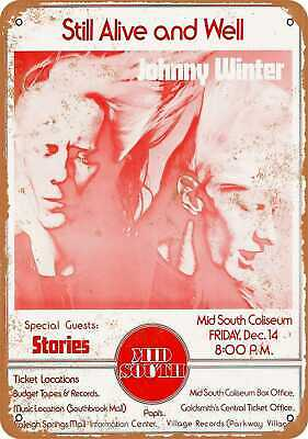 Metal Sign - 1973 Johnny Winter in Memphis - Vintage Look Reproduction
