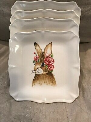 Maxcera Square Easter Bunny Rabbit Roses Holiday Salad Dessert 4 Plates Dishes