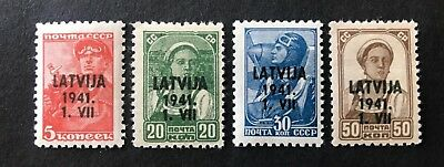 GERMANY. 1941. WW2 LATVIA Occupation, Overprint on Soviet definitives. MNH OG.