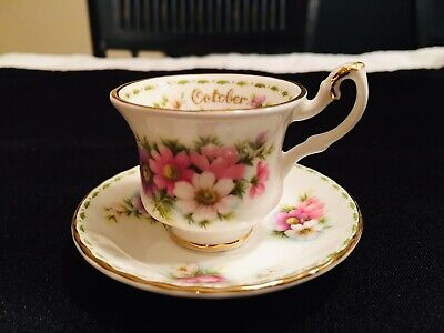 Royal Albert Bone China Miniature Flower Of The Month Cup and Saucer October