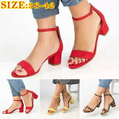 ddbc6252b2c39 Summer Women Casual Block Heel Sandals Open Toe Ankle Strap Shoes Plus Size