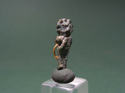 Egyptian Figure Pendant Bronze & Gold Late Period 716-30 Bc