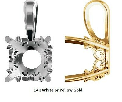 14K Solid White Or Yellow Gold Round Vintage Scroll Pendant Setting Mounting