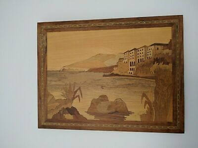 Wood Moisaic Wooden Wall Art Picture Sea Lake Shore Island Bay Carving Hand made