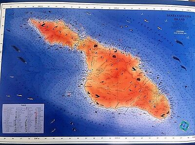 Catalina Island, California Detailed map of the area of Catalina Island 22x26