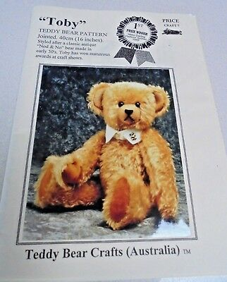 """Toby Teddy Bear Sewing Pattern Make Jointed Bear 40cm - 16"""" Crafts Australia UnC"""