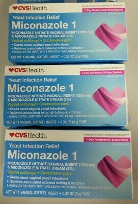 CVS Miconazole 1 Yeast Infection Relief 1 Day Treatment Antifungal EXP 9/19+