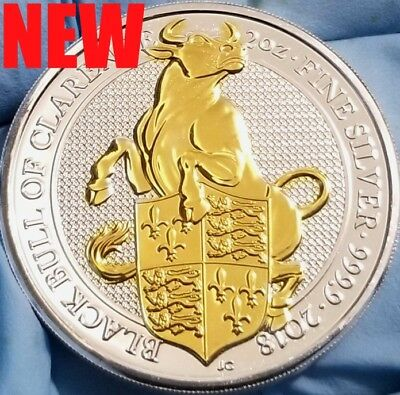 NEW 2018 Great Britain 2 oz Silver Queen's Beast Black Bull , 24k Gold Gilded