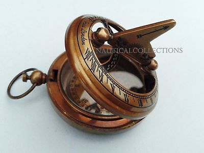Nautical Hand-Made Solid Brass Mini Sundial Working Compass Pocket Compass