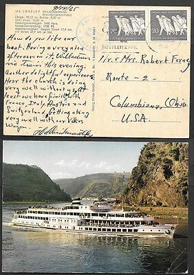 1965 Germany Postcard - Loreley Ship