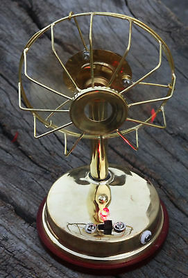Vintage Fully Brass Electric Fan With 3 blades Collectible Working Table Fan gif