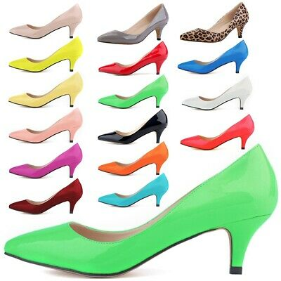 31e7d440a06 Women Low Mid Kitten Heel Pumps Pointed Toe Work Court Shoes Work Office  Size US