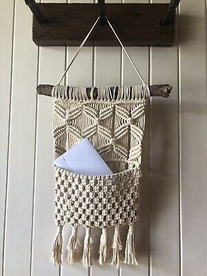 Macrame Hanging Pocket On Driftwood - For Books, Magazines Or Letters