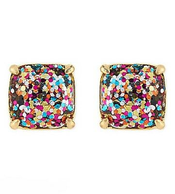 37a309945efee KATE SPADE 12K Gold Plated Multi Glitter Square Studs Earrings NEW ...