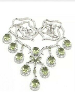 Sterling Silver.925 Deluxe Brazilian Green Amethyst And White CZ Necklace.