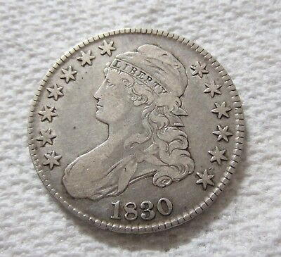 1830 Capped Bust Silver Half Dollar Lettered Edge Variety