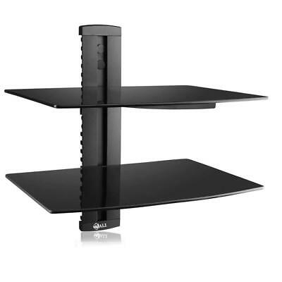NEW 2 Tier Floating Shelf with Strengthened Tempered Glass for PS / XBOX / DVD