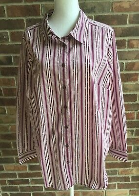 c25ac04102a Roamans Womens Blouse Shirt Plus Size 22W Burgundy Striped Long Sleeve  Buttons