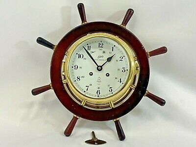 Schatz Royal MarinerShips Bell Clockw/Wood, key.Runs Strikes 7Jewels 8 Day/WORKS