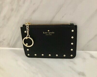 879348ed6ca1 NEW Kate Spade Bitsy Black Leather Studded Key Chain Card Holder Wallet